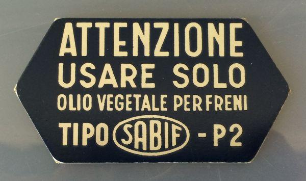 Plate for Brake Fluid / Schild für Bremsflüssigkeit