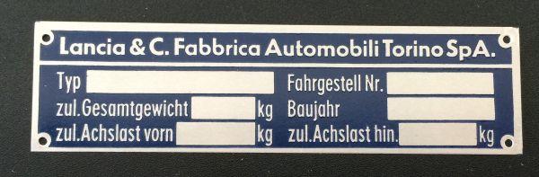 Plate for Chassis No / Schild für Fahrgestell Nummer